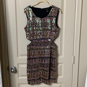 FOREVER21 sequin bodycon dress with side cutouts